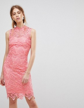 photo High Neck Crochet Dress by Paper Dolls, color Pink - Image 1