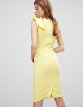 photo Pencil Dress with Frill and Belt Detail by Paper Dolls, color Lemon - Image 2