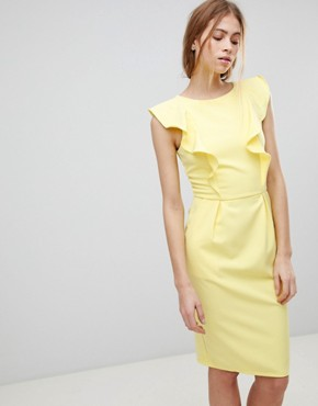 photo Pencil Dress with Frill and Belt Detail by Paper Dolls, color Lemon - Image 1