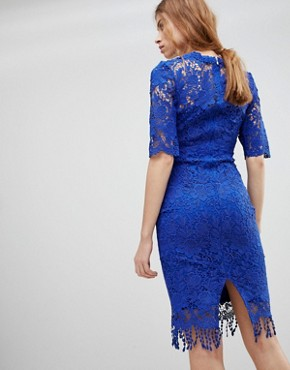 photo High Neck Crochet Dress with Short Sleeves by Paper Dolls, color Blue - Image 2