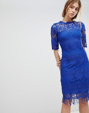 photo High Neck Crochet Dress with Short Sleeves by Paper Dolls, color Blue - Image 1