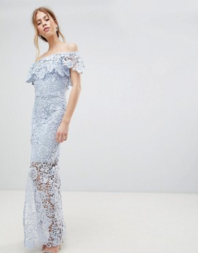 photo Sheer Bottom Maxi Dress by Paper Dolls, color Blue - Image 1