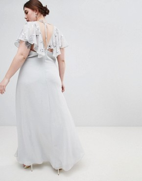 photo Wrap Maxi Dress with Embellished Flutter Sleeves by ASOS DESIGN Curve, color Grey - Image 2