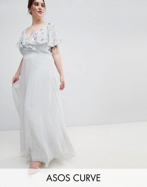 photo Wrap Maxi Dress with Embellished Flutter Sleeves by ASOS DESIGN Curve, color Grey - Image 1