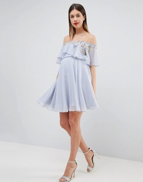 photo Maternity Embellished Bandeau Crop Top Skater Mini Dress by ASOS DESIGN, color Pale Blue - Image 1
