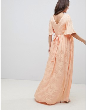 photo Maternity Soft Jacquard Maxi Dress with Flutter Sleeve by ASOS DESIGN, color Apricot - Image 2