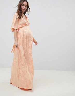 photo Maternity Soft Jacquard Maxi Dress with Flutter Sleeve by ASOS DESIGN, color Apricot - Image 1
