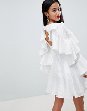 photo Jacquard Mini Dress with Ruffle Sleeves and Cut Out Back by ASOS DESIGN Petite, color White - Image 2