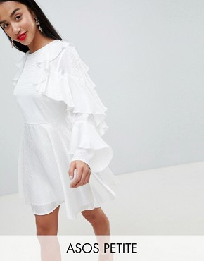 photo Jacquard Mini Dress with Ruffle Sleeves and Cut Out Back by ASOS DESIGN Petite, color White - Image 1
