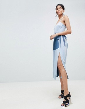 photo Minimal Pleated Cami Colourblock Dress by ASOS DESIGN Tall, color Blue - Image 4