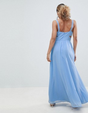photo Side Cut Out Maxi Dress with Cami Straps by ASOS DESIGN Petite, color Pale Blue - Image 2