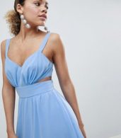 photo Side Cut Out Maxi Dress with Cami Straps by ASOS DESIGN Petite, color Pale Blue - Image 3