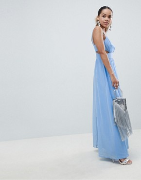photo Side Cut Out Maxi Dress with Cami Straps by ASOS DESIGN Petite, color Pale Blue - Image 4