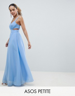 photo Side Cut Out Maxi Dress with Cami Straps by ASOS DESIGN Petite, color Pale Blue - Image 1