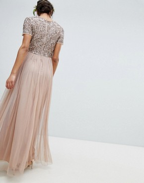 photo V-Neck Maxi Tulle Bridesmaid Dress with Tonal Delicate Sequins by Maya, color Taupe Blush - Image 2