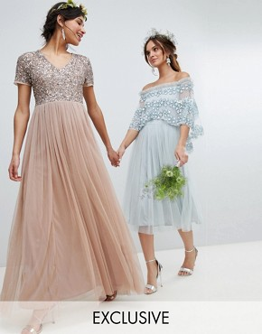 photo V-Neck Maxi Tulle Bridesmaid Dress with Tonal Delicate Sequins by Maya, color Taupe Blush - Image 1