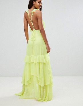 photo Ruffle Maxi Dress by ASOS DESIGN Tall, color Yellow - Image 2