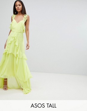 photo Ruffle Maxi Dress by ASOS DESIGN Tall, color Yellow - Image 1