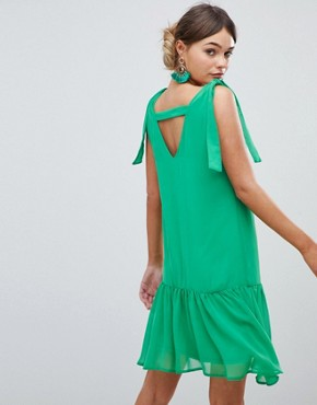 photo Tie Shoulder Swing Dress by Silver Bloom, color Green - Image 2