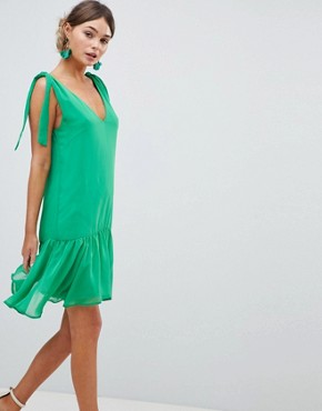photo Tie Shoulder Swing Dress by Silver Bloom, color Green - Image 1