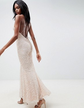 photo All Over Embellished Strappy Back Maxi Dress by ASOS EDITION, color Blush - Image 2