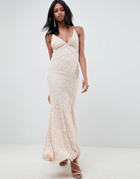 photo All Over Embellished Strappy Back Maxi Dress by ASOS EDITION, color Blush - Image 1