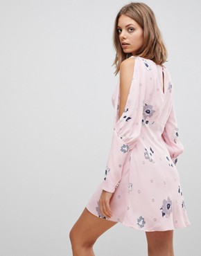 photo Sun Shadows Prints Mutton Sleeve Dress by Free People, color Pink Combo - Image 2