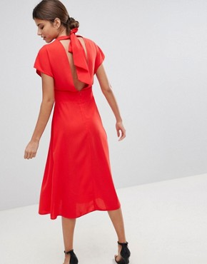 photo Button Through Midi Dress with Bow Back Detail by ASOS, color Red Orange - Image 2