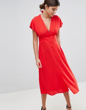 photo Button Through Midi Dress with Bow Back Detail by ASOS, color Red Orange - Image 1