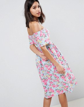photo Off Shoulder Button Through Midi Dress in Floral Print by ASOS DESIGN, color Multi - Image 2