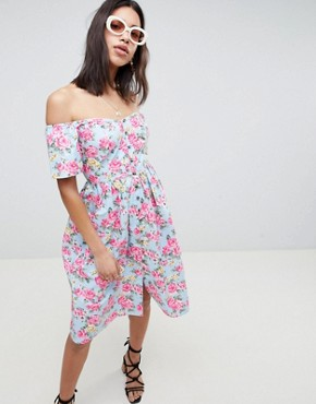 photo Off Shoulder Button Through Midi Dress in Floral Print by ASOS DESIGN, color Multi - Image 1