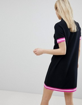 photo Tipped Pique Polo Dress by Fred Perry, color Black - Image 2