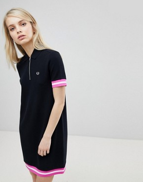 photo Tipped Pique Polo Dress by Fred Perry, color Black - Image 1