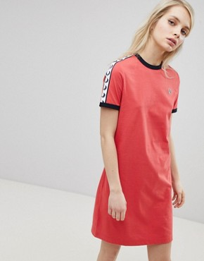 photo Logo Tape Ringer T-Shirt Dress by Fred Perry, color  - Image 1