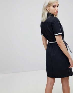 photo Belted Shirt Dress by Fred Perry, color Black - Image 2