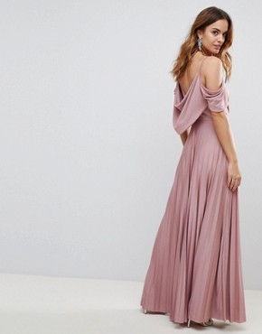 photo Cold Shoulder Cowl Back Pleated Maxi Dress by ASOS, color Rose - Image 2