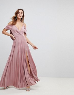 photo Cold Shoulder Cowl Back Pleated Maxi Dress by ASOS, color Rose - Image 1