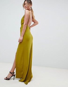 photo Cami Drape Cut Out Button Side Maxi Dress by ASOS DESIGN, color Olive - Image 2