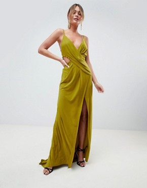 photo Cami Drape Cut Out Button Side Maxi Dress by ASOS DESIGN, color Olive - Image 1
