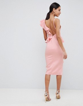 photo Scuba Asymmetric Ruffle Front Midi Dress by ASOS DESIGN, color Pink - Image 2
