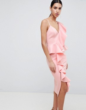 photo Scuba Asymmetric Ruffle Front Midi Dress by ASOS DESIGN, color Pink - Image 1
