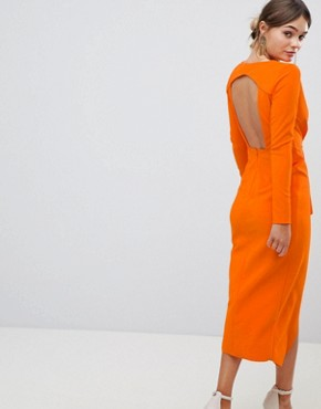 photo Long Sleeve Waterfall Deep Plunge Midi Dress by ASOS DESIGN, color Orange - Image 2