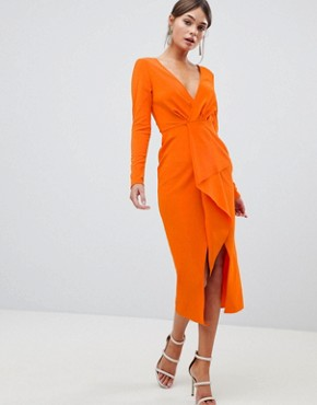 photo Long Sleeve Waterfall Deep Plunge Midi Dress by ASOS DESIGN, color Orange - Image 1