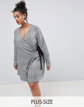 photo Wrap Dress with Tie Waist in Prince of Wales Check by Unique 21 Hero Plus, color Grey - Image 1