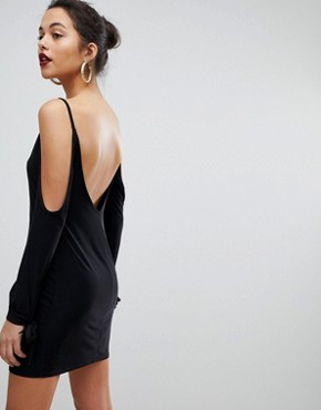 photo Slip Mini Dresses with Split Sleeve Arm by Club L, color Black - Image 2