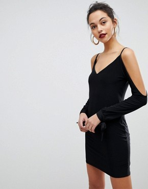 photo Slip Mini Dresses with Split Sleeve Arm by Club L, color Black - Image 1