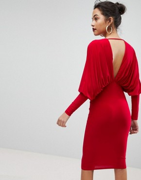 photo Batwing V-Plunge Gathered Detailed Midi Dress by Club L, color Red - Image 2