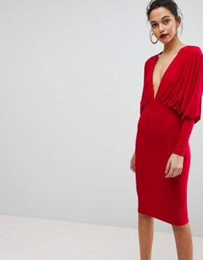 photo Batwing V-Plunge Gathered Detailed Midi Dress by Club L, color Red - Image 1