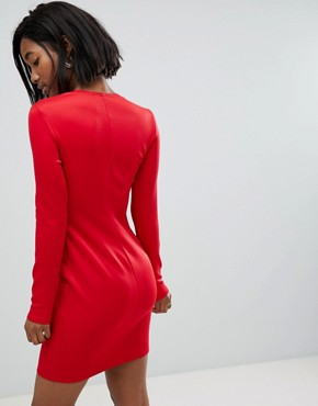 photo Long Sleeve Scuba Boned Detailed Pencil Dress by Club L, color Red - Image 2