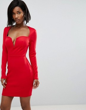 photo Long Sleeve Scuba Boned Detailed Pencil Dress by Club L, color Red - Image 1